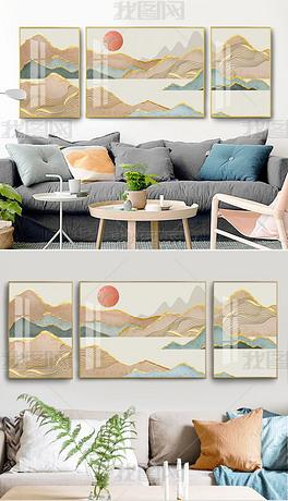 现代抽象金箔线条清新简约山水三联客厅装饰画