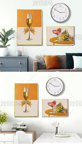 手绘餐具重彩风客厅餐厅挂钟组合装饰画