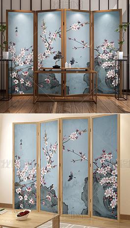 中式手绘桃花工笔花鸟梅花山水屏风背景墙