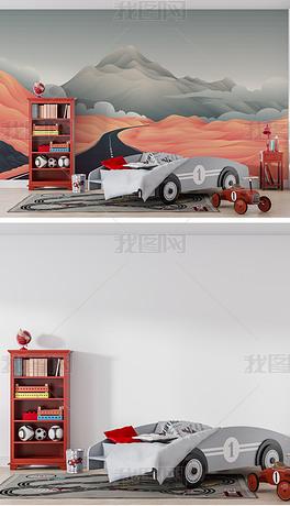 卡通山脉公路儿童房墙纸背景墙场景样机
