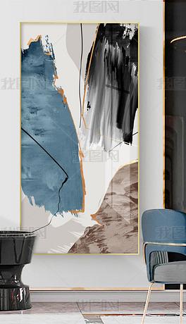 现代简约抽象蓝色油画肌理玄关装饰画3