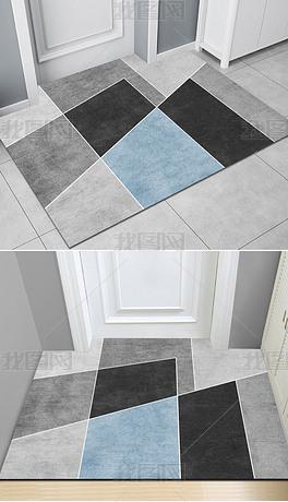 北欧现代简约ins轻奢几何抽象入门地毯进门地垫客厅