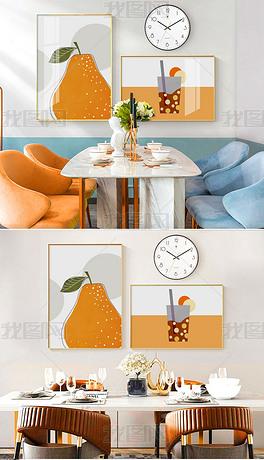 现代简约手绘小清新水果餐厅挂钟组合画