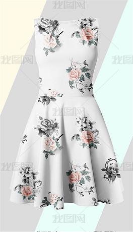 北欧时尚清新白玫瑰印花图案
