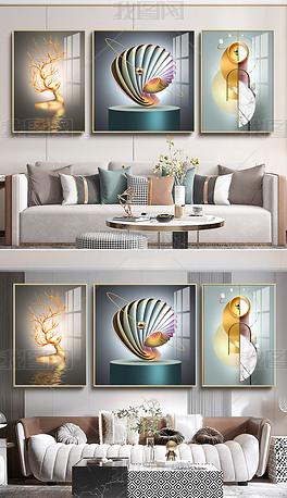 现代轻奢立体装置抽象光影空间客厅三联装饰画