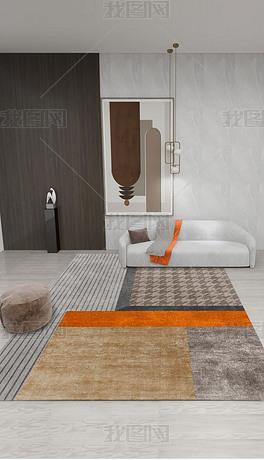 现代简约几何橙色拼接图案千鸟格客厅地毯