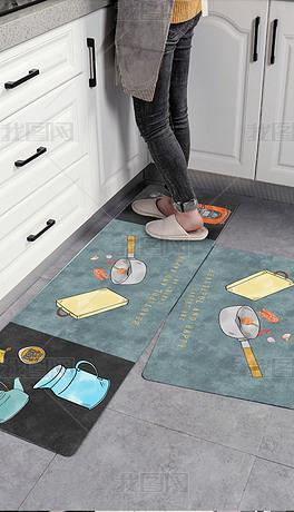 现代北欧轻奢手绘厨具美食脚垫床边毯厨房地垫地毯
