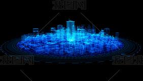 蓝色科技城市视频素材(透明通道)
