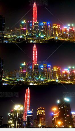 深圳市福田区平安金融中心大楼夜景航拍4K无噪点