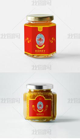 高档精美喜庆品质蜂蜜包装设计蜂蜜罐包装设计蜂蜜罐贴纸设计