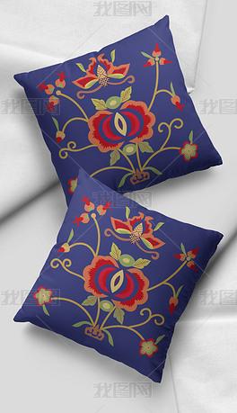 2021时尚复古中国风传统花枝图案刺绣艺术抱枕