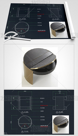 现代简约床头柜圆形床头柜轻奢床头柜CAD家具生产图家具施工图