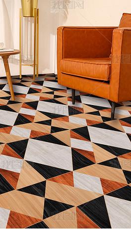 现代简约复古抽象几何三角错位橙黑木色木纹地板革地毯图案