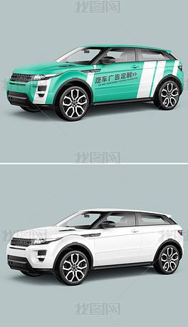 中型suv汽车轿车车身广告侧视图效果图样机