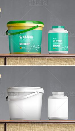 塑料桶和塑料罐模型场景效果图样机