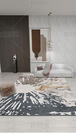 现代简约抽象几何线条土耳其风格客厅卧室地毯