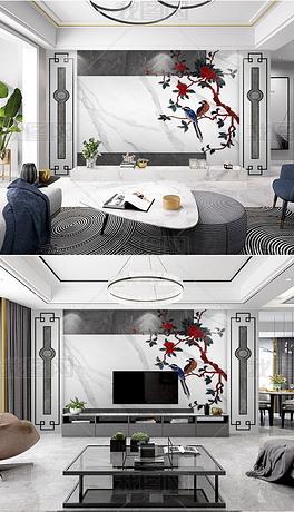新中式石纹花鸟整装背景墙