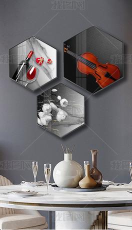 创意晶瓷现代简约轻奢六边形餐厅装饰画