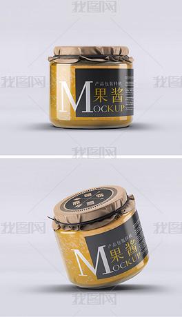 复古食品罐头蜂蜜包装玻璃瓶标签展示样机