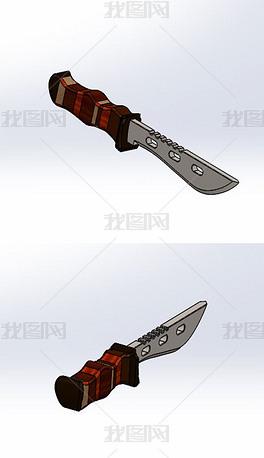 木柄刀刃实体模型(含STP)r