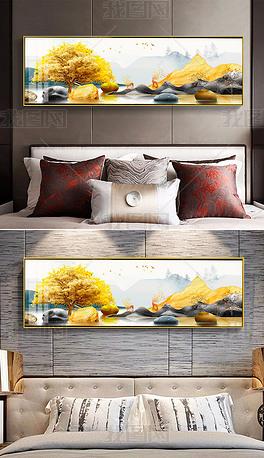 新中式金色抽象山水麋鹿轻奢床头画北欧装饰画晶瓷横幅卧室装饰画