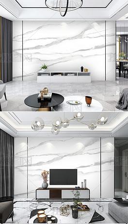 现代轻奢爵士白大板背景墙