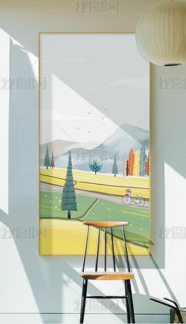 小清新插画现代简约北欧节气玄关装饰画1