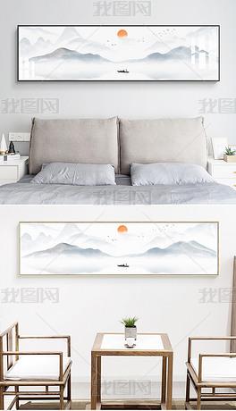 现代简约新中式抽象水墨山水意境床头画装饰画