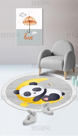 北欧可爱ins风卡通可爱熊猫圆形儿童地垫地毯