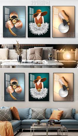 现代轻奢女性抽象立体几何客厅光影三联装饰画