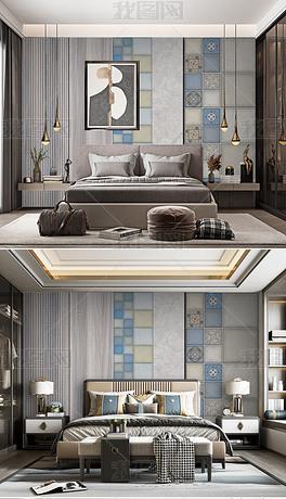 现代轻奢卧室背景墙