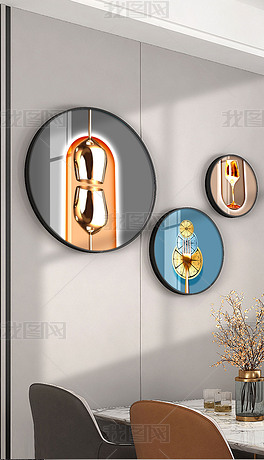 现代简约抽象水果轻奢圆形组合餐厅画4
