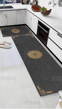 欧式古典花纹厨房地垫地毯
