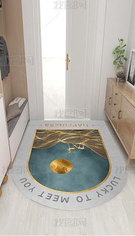 北欧简约轻奢抽象线条山水迷路入门地毯进门地垫