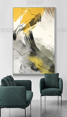 现代简约北欧抽象线条艺术水墨油画轻奢装饰画
