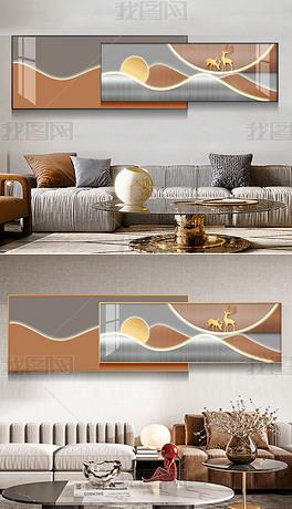 创意抽象轻奢几何线条组合床头装饰画3