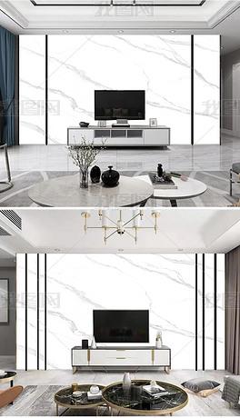 9新中式现代简约爵士白山水大理石纹背景墙