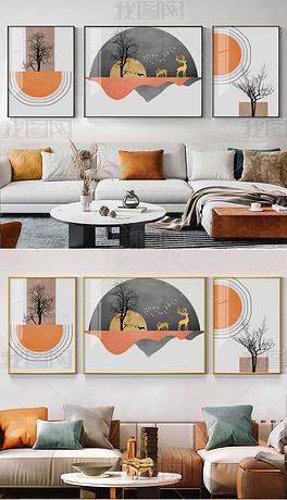 现代简约抽象山水极简轻奢客厅装饰画7