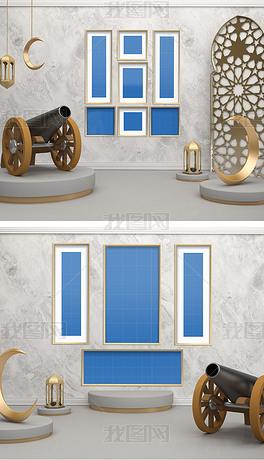 阿拉伯3d场景组合装饰画壁画挂画样机