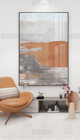 现代简约轻奢抽象橙色大幅落地画橘势玄关装饰画