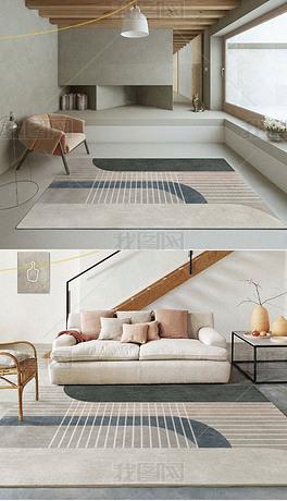 现代北欧抽象几何线条侘寂卧室地垫床边高端地毯