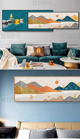 新中式轻奢大理石炫彩山水床头客厅装饰画4