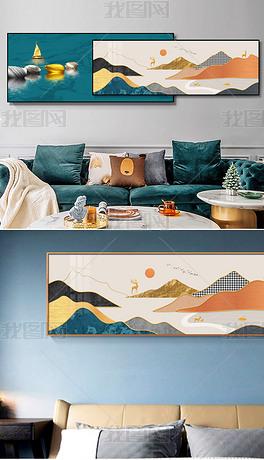 新中式轻奢大理石炫彩山水床头客厅装饰画5