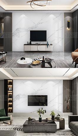 现代简约木材爵士白大理石纹石材电视背景墙