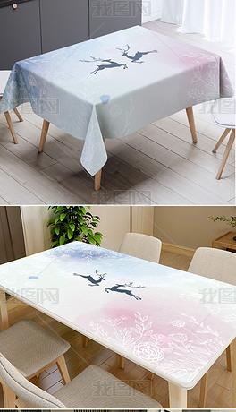 小清新北欧风手绘水彩麋鹿桌布台布防水茶几垫
