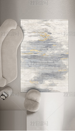 现代简约金色抽象条纹轻奢地毯地垫图案设计