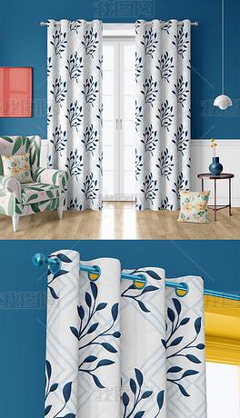 3D高清现代室内客厅地板沙发窗帘枕头展示样机
