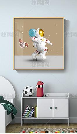北欧现代创意轻奢立体运动宇航员卡通儿童装饰画