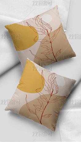 现代简约莫兰迪大地色植物色块沙发靠垫抱枕
