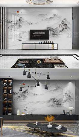 新中式山水石纹大理石意境山水岩板背景墙